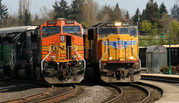 UP and BNSF trains at Vancouver Station