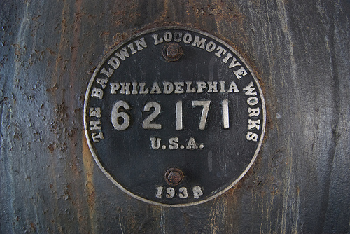 The 700's Baldwin Locomotive Works builder's plate